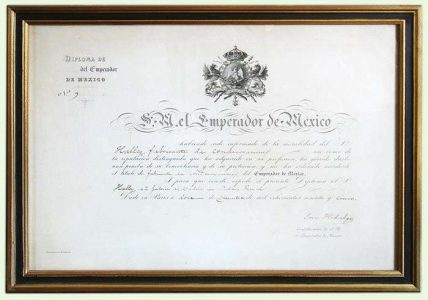 Diplôme remis par l'Empereur Maximilien du Mexique