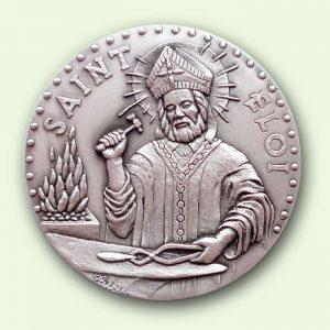 Médaille personnalisée argent : Saint Eloi (recto)